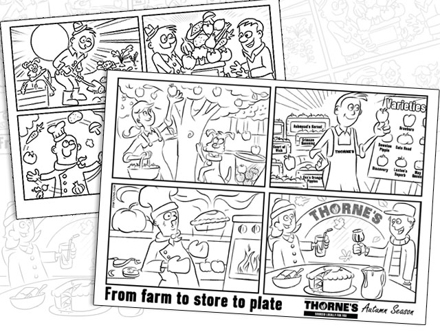 Cartoon colouring in sheets for restaurants