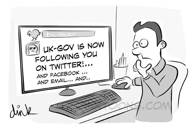 UK GOV is now following you twitter - Web snooping law - topical cartoon