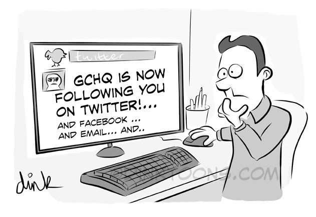 GCHQ is now following you on twitter - topical cartoon