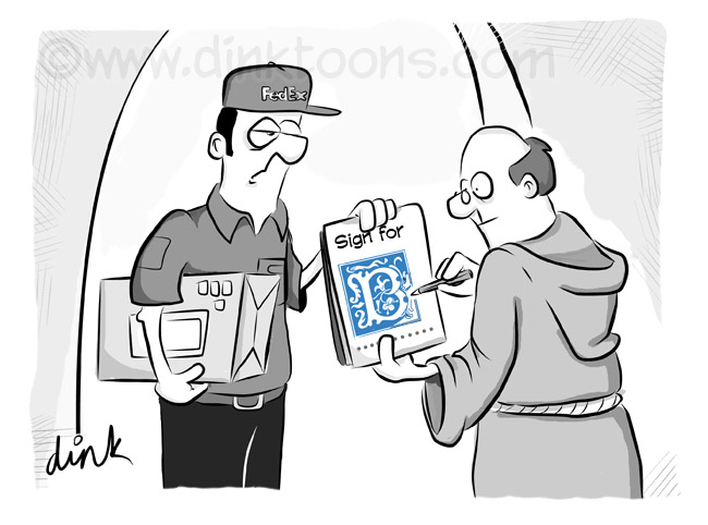 monk elaborately signs for delivery - cartoon