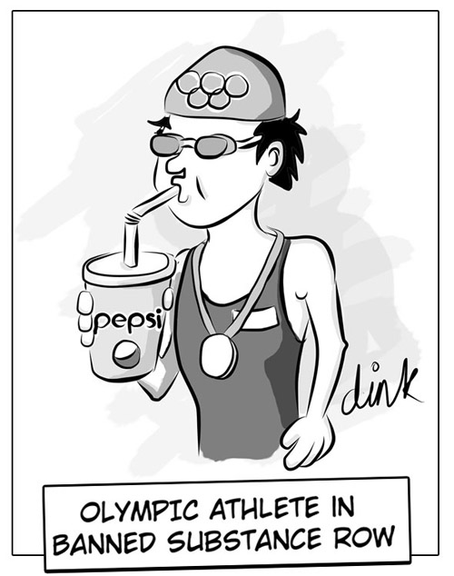 Olympics Chinese swimmer banned substance allegations - cartoon by freelance cartoonist Chris Williams