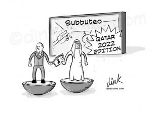 Qatar world cup 2022 allegations cartoon by freelance cartoonist Chris Williams