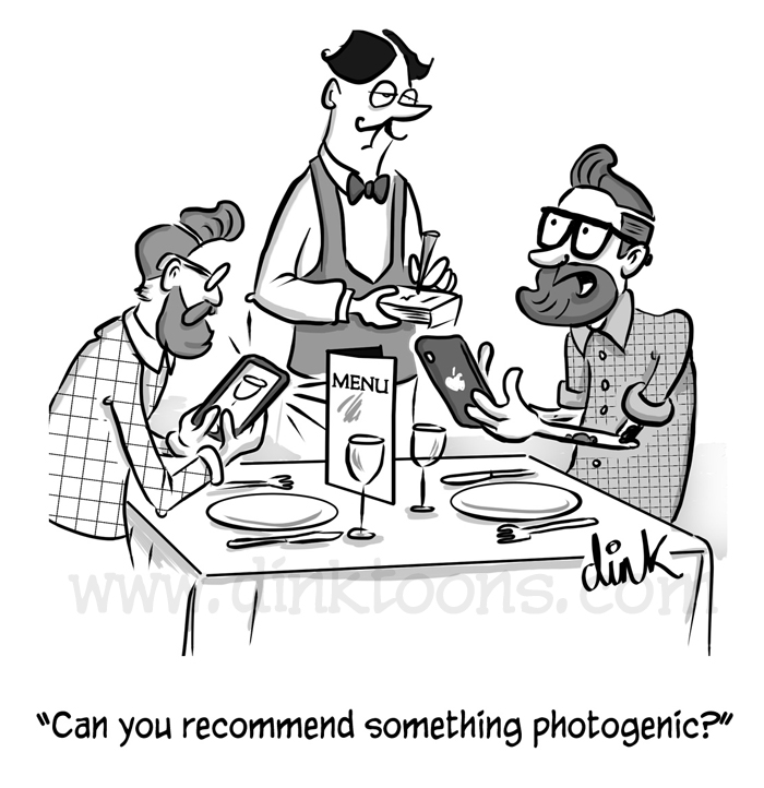hipster lunch instagram cartoon