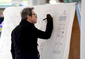 Drawing at Shrewsbury Cartoon festival