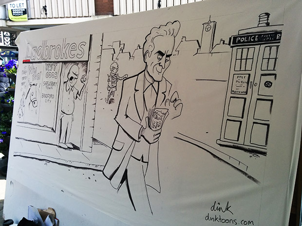 Shrewsbury big board cartoon in progress