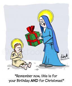 Birthday at Christmas - Jesus- cartoon