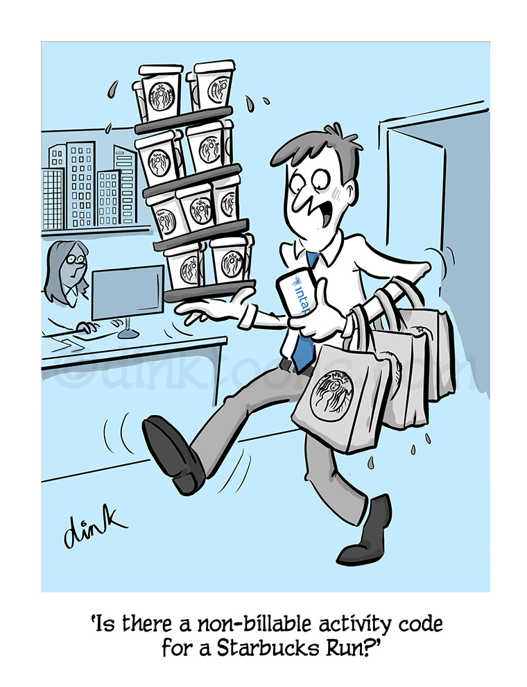 coffee run- intapp business cartoon