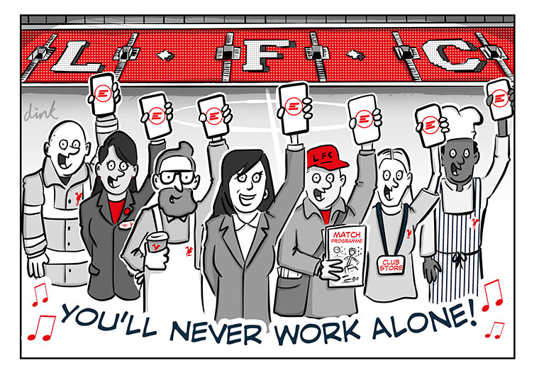 Engage at Liverpool Football Club - business cartoon