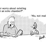 social media echo chamber cartoon