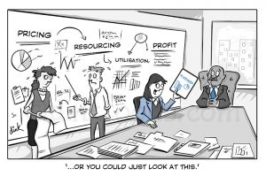 whiteboards - intapp business cartoon