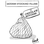 modern stocking fillers - chocolate Bitcoins - cartoon
