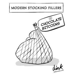 modern stocking fillers - chocolate Bitcoins - cartoon