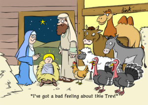 Turkey at the nativity - Christmas Cartoon
