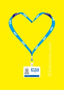 N Brown NHS support social media illustration - heart lanyard