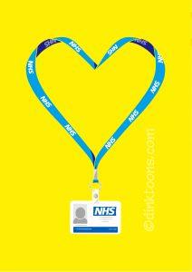 N Brown NHS support social media illustration - heart lanyard