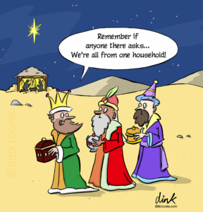 Three Kings Covid Christmas cartoon